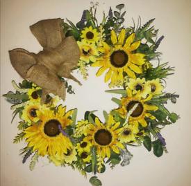 Sunflower door wreath