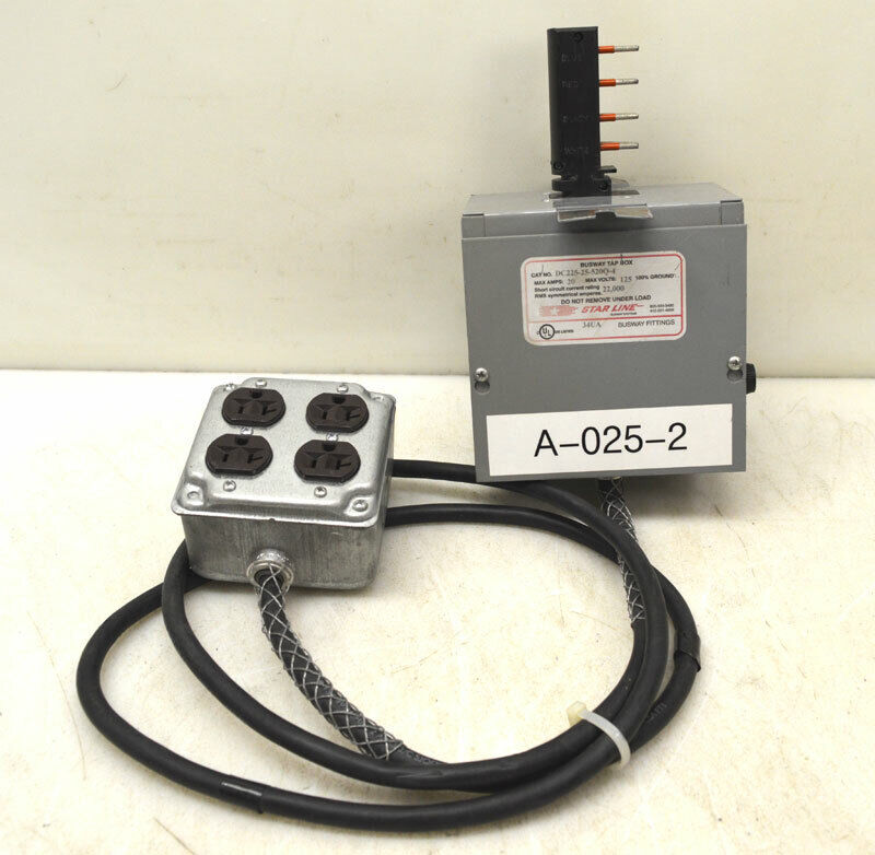Starline Dc225-25-520q-4 20-amp 34ua Busway Tap Box 125vac Plug-in Fuse 20a Drop