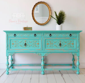 Turquoise and Gold Antique Buffet / Sideboard / Hutch