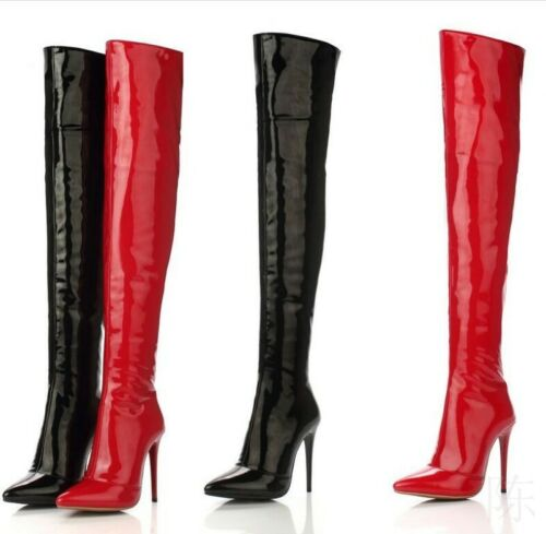 Occident Women Patent Leather Over Knee Thigh High Boots Red Black Big Size35-48