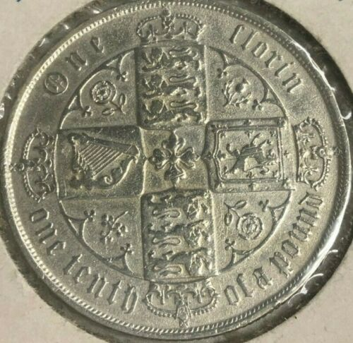 1874 GREAT BRITAIN 1 FLORIN SILVER COIN