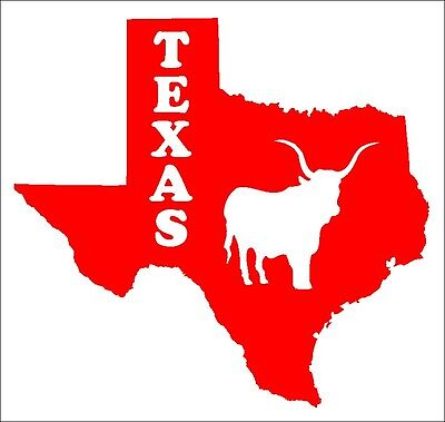 Aufkleber Texas, aus hochwertiger Folie geschnitten, mit Longhorn, vollfarbig. (Texas Longhorn Dekorationen)