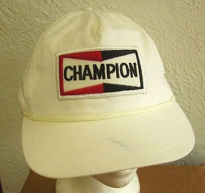 Sparkly Baseball Hats (CHAMPION SPARK PLUGs logo vtg baseball cap 1980s beat-up auto racing)
