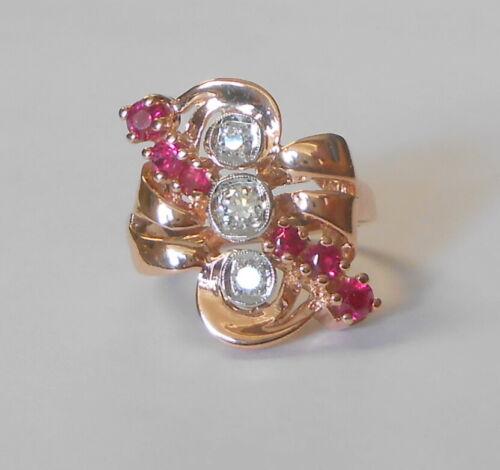 Large Face 14K Rose Pink Gold Mine Cut Diamond & Ruby Vintage Ring Size 8.5
