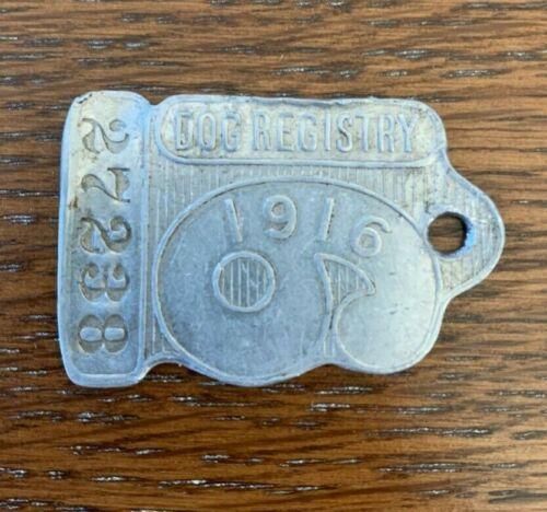 Vintage 1916 Chicago Dog Registry Tag
