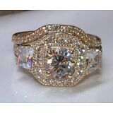 3.03ct Brilliant Cut Diamond Engagement Ring Wedding Band 14kt Solid White Gold