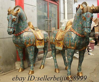 "64"" Folk Chinese Cloisonne Bronze Palace Zodiac Dragon Fu Horse Statue Pair"