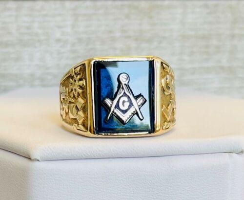 Vintage 10k Yellow Gold Freemason Master Mason Ring Deep Blue Field Size 7