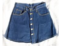 Dark Blue Denim A-Line High Waisted Mini Skirt / Size 6 / XS
