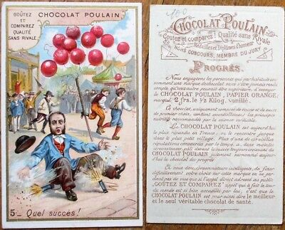 Chocolate/Chocolat Poulain EMBOSSED 1890 French Trade Card - Firecrackers & Man - Firecracker Chocolate