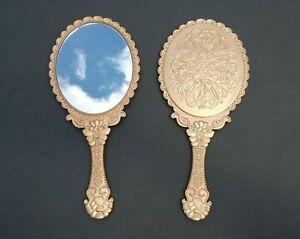 Vintage Style Antique Gold Hand Held Vanity Mirror Acrylic