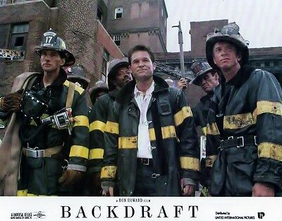 Backdraft lobby card - firefighter print - Kurt Russell, Stephen Baldwin