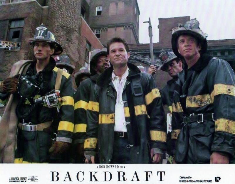 Backdraft lobby card - firefighter print - Kurt Russell, Stephen Baldwin