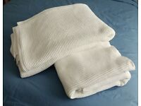 TWO WHITE PURE COTTON BLANKETS APPROX 82 x 90 INS - £20 FOR BOTH
