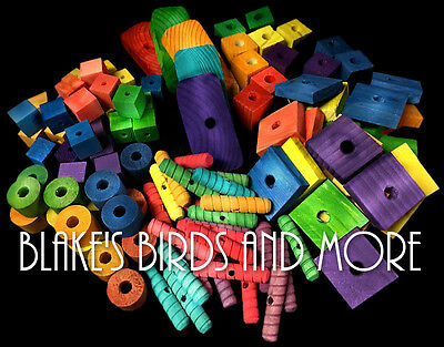 75 Bird Toy Parts Variety Assortment Med to Large Pieces- Parrots Wood Blocks