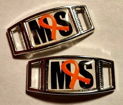 Set Of 2 Multiple Sclerosis Awareness Ms Shoelace Charms For Paracord Projects