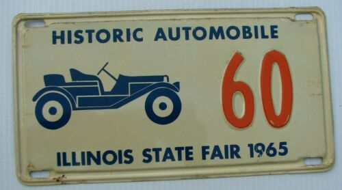 "1965 HISTORIC ANTIQUE AUTOMOBILE LICENSE PLATE "" 60 "" IL ILLINOIS STATE FAIR"