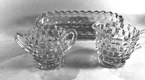 "LOT #38: ELEGANT FOSTORIA GLASS, USA: ""AMERICAN"" CREAMER SUGAR + OVAL DISH"