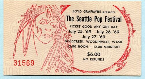 1969 The Doors Led Zeppelin Jim Morrison Seattle Pop Unused Concert Ticket