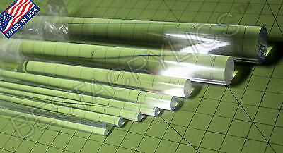 "6 PC CLEAR ACRYLIC PLEXIGLASS LUCITE PLASTIC ROD 1/2"" DIAMETER 12"" INCH LONG"