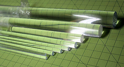 "6 PIECES 1/4"" DIAMETER 12"" LONG CLEAR ACRYLIC PLEXIGLASS LUCITE PLASTIC ROD"