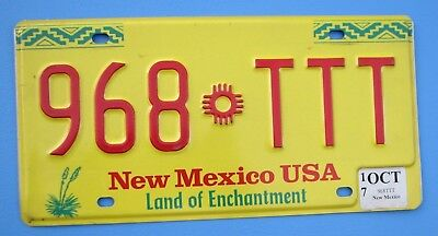 "NEW MEXICO TRIPPPLE T  AUTO  LICENSE PLATE "" 968 TTT "" REPEATING LETTERS NM"