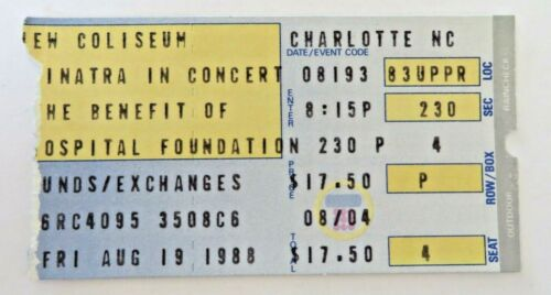 Vintage Frank Sinatra Ticket Stub August 19 1988 Charlotte NC #2238