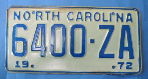 1972 North Carolina License Plate New never used