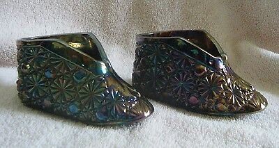 1960 70S Fenton Old Virginia Glass Amethyst Carnival Shoes Shoe  Pair