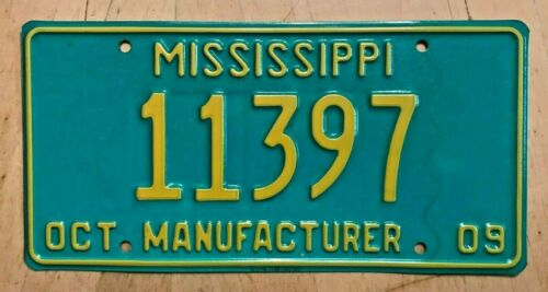 "COLORFUL MINT 2009 MISSISSIPPI AUTO MANUFACTURER  LICENSE PLATE "" 11397 "" MS 09"