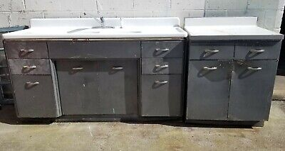 Vintage Metal Kitchen Cabinets (Youngstown?) Double Porcelain Enamel Farm Sink