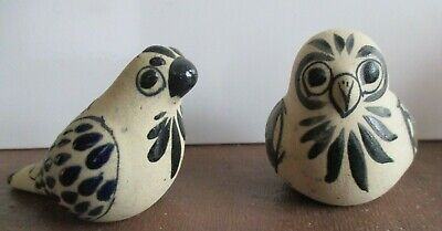 2 SMALL (MEXICO) STUDIO POTTERY BIRDS OWL/PIGEON - RETRO
