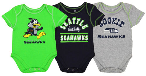 OuterStuff NFL Newborn and Infant 3 Piece Creeper Set, Seatt