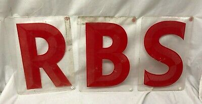 Lot 3 Large Plastic Plexi Glass Sign Letters Red 14x10 R B S Vintage Nice
