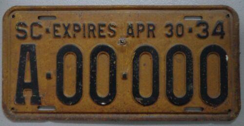 1934 South Carolina Sample License Plate Original