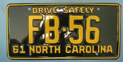 1961 North Carolina License Plate professionally restored low number
