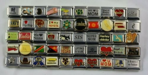 Italian Charms 50 Assorted Stainless Steel Wholesale Lot 9mm (C50-02208) variety