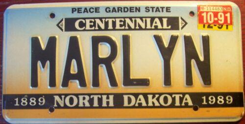 1991 NORTH DAKOTA VANITY PERSONALIZED LICENSE PLATE MARILYN MARLYN MARY LIN
