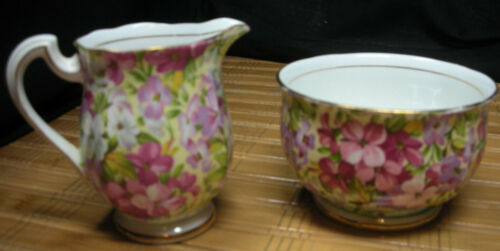 ROYAL STANDARD VIRGINIA STOCK Floral Chintz CREAMER AND OPEN SUGAR BOWL, England
