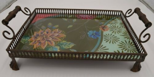 Tracy Porter Handled Serving Tray Reverse Painted on Glass Retired