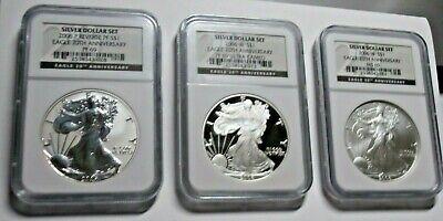 2006 American Silver Eagle 3 Coin Set 20th Anniversary NGC MS69 PF69UCAM REV PR