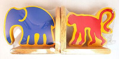 Crate & Barrel Oak Wood Bookends Monkey Elephant Animal Nursery Baby Kids School for sale  Raleigh
