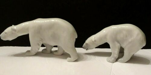 "Vintage Royal Copenhagen Polar Bear Set  #320  and #321, 7"" & 5 1/2"" L x31/2"" H"