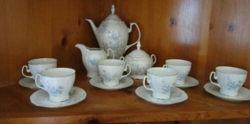 Porcelain Light Blue Flower- CLUJ Napoca Romanian Tea Set