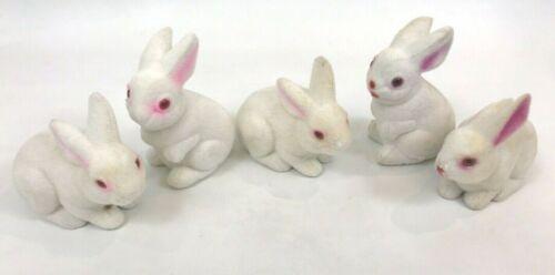 Flocked Vintage Bunny Easter Rabbit Lot Plastic Bank White Decor Decorations