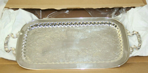 """NEW IN BOX  Vintage Leonard Etched Footed Silverplate 24"""" Tray  24 Inches Long"""