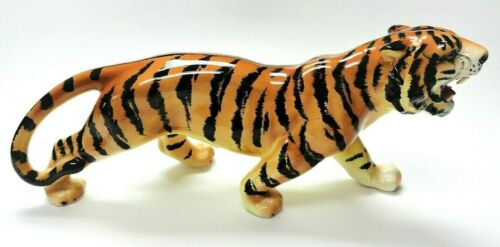 "Vintage Large 16"" Porcelain Prowling Majestic Tiger Glossy Console Figurine"
