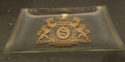 Vintage The House Of Seagram's Glass Tray Platter Seagram 7 & 7 Whiskey Drink