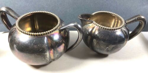 ANTIQUE MIDDLETOWN HARD WHITE METAL QUADRUPLE  SILVER PLATE CREAMER SUGAR BOWL