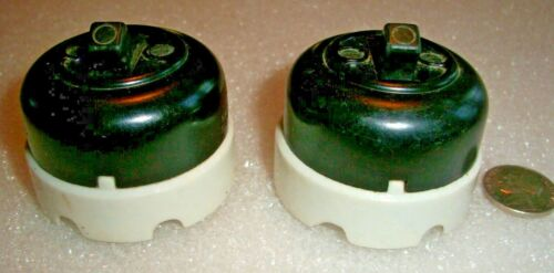 MATCHED PAIR VINTAGE ROUND BAKELITE--PORCELAIN TOGGLE SINGLE-POLE LIGHT SWITCH